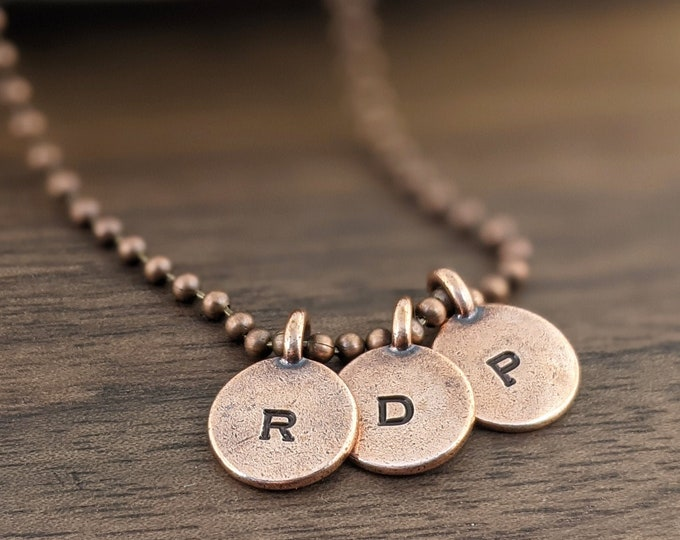 copper initial necklace - pendant necklace - mens necklace - boyfriend gift - anniversary gift - copper jewelry - gift for couple
