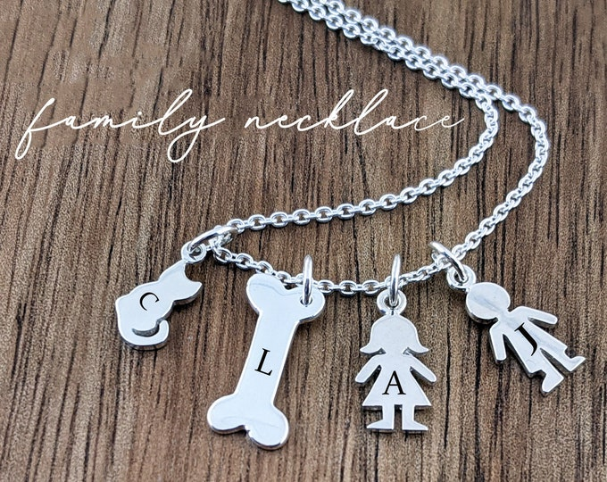 Personalized Silver Boy Charm, Girl Charm Pendant Necklace, Custom Engraved Names, New Mom Gift, New Mom, New Baby, Gift for Her