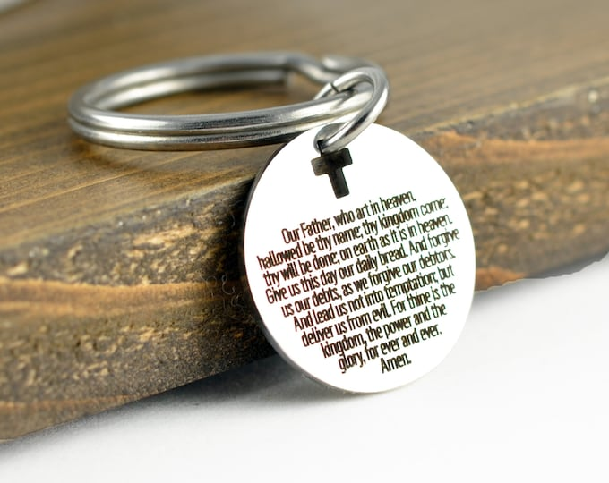Our Father Prayer Keychain, Christian Gifts, Religious Gifts, Scripture Jewelry, Bible quote