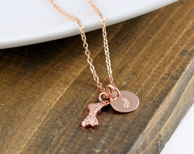 Rose Gold Necklace, Dog Mom Gift, Dog Lover Necklace, Dog Lover Gift, Animal Lover Gift, Personalized Dog Gifts, Initial Necklace
