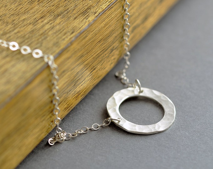 Sterling Silver Karma Necklace - Karma Necklace - Washer Necklace - Gift for her - Hammered Circle Pendant - Bridesmaid Necklace