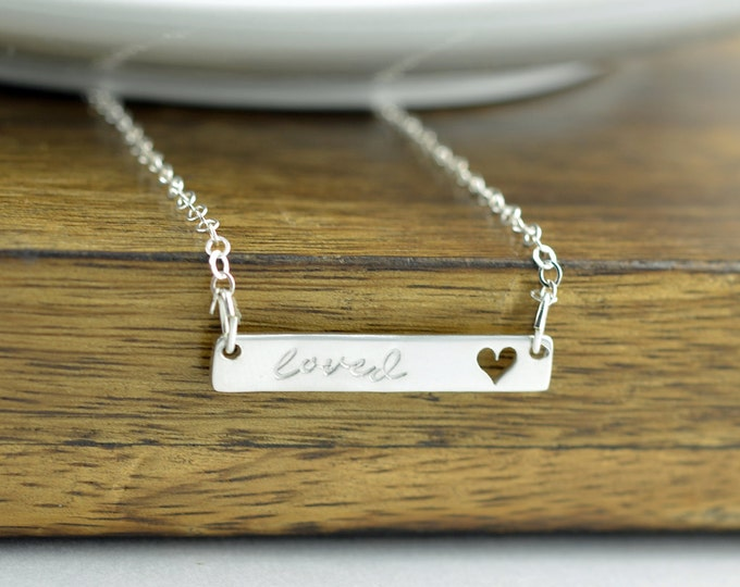 Heart Bar Necklace, Bar Necklace, Valentine's Day Necklace - You are Loved - Gift For Wife - Love Necklace - Silver Heart Necklace