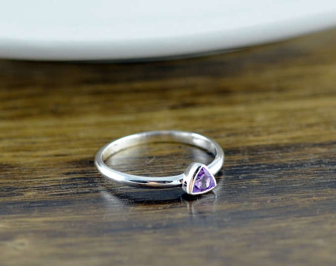 Sterling Silver Trillion Amethyst Ring - Amethyst Ring - Statement Ring - Gemstone Ring - Trillion Ring - Stacking Rings - Gift for Her