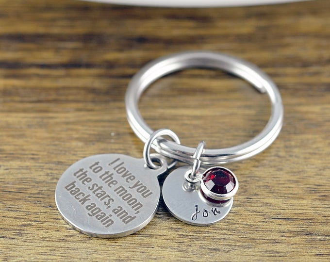 I Love You To The Moon KeyChain - Personalized Keychain - Engraved Jewelry - Engraved Keychain - Kids Name Keychain - Keychain for Her