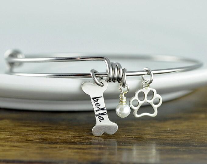 Silver Dog Bone Bracelet - Personalized Dog Bracelet - Dog Paw Bracelet - Dog Lover Jewelry - Paw Print - Pet Memorial - Dog Bone Charm