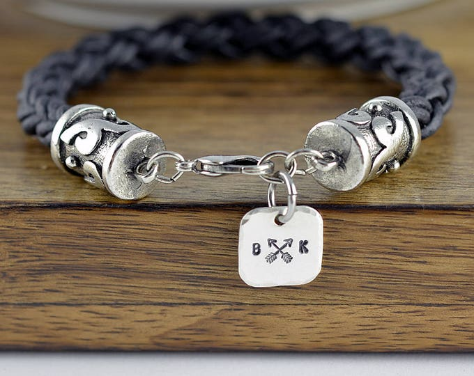 Mens Leather Bracelet Personalized - Mens Leather Bracelet - Custom Initial Bracelet - Custom Leather Bracelet - Mens Bracelet - Mens Gift