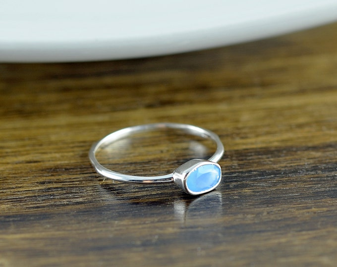 Sterling Silver Oval Blue Chalcedony Ring - Chalcedony Ring - Statement Ring - Gemstone Ring - Oval Ring - Stacking Rings - Gift for Her