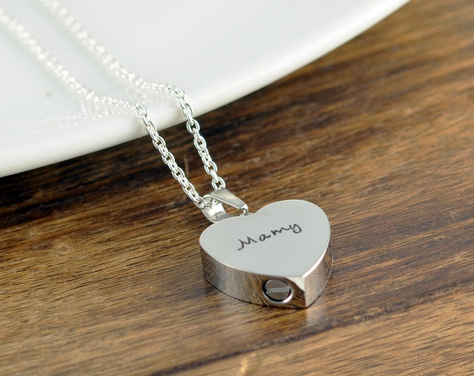 Personalized Cremation Jewelry, Ash Jewelry, Heart Cremation Pendant, Urn Necklace For Ashes, Silver Heart Necklace, Cremation Necklace