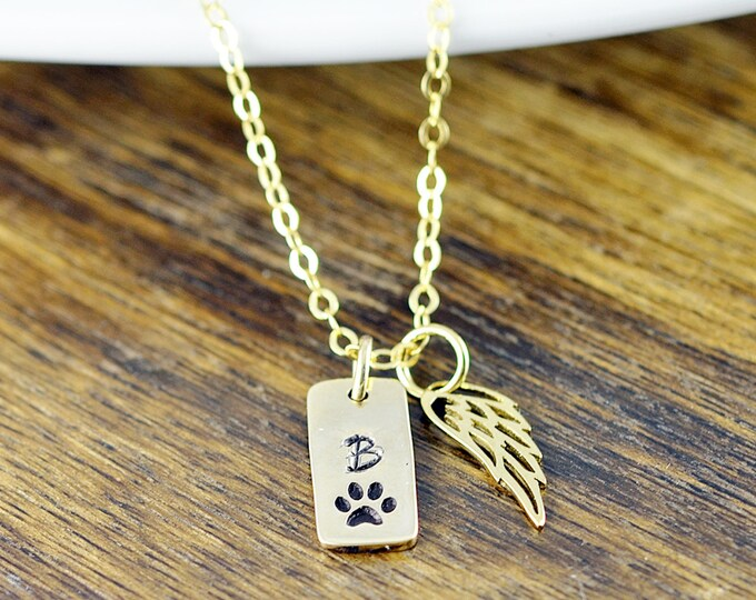 Gold Initial Necklace, Pet Memorial Jewelry, Dog Charm Necklace, Dog Lover Necklace, Dog Paw Charm Necklace, Dog Lover Gift, Animal Lover