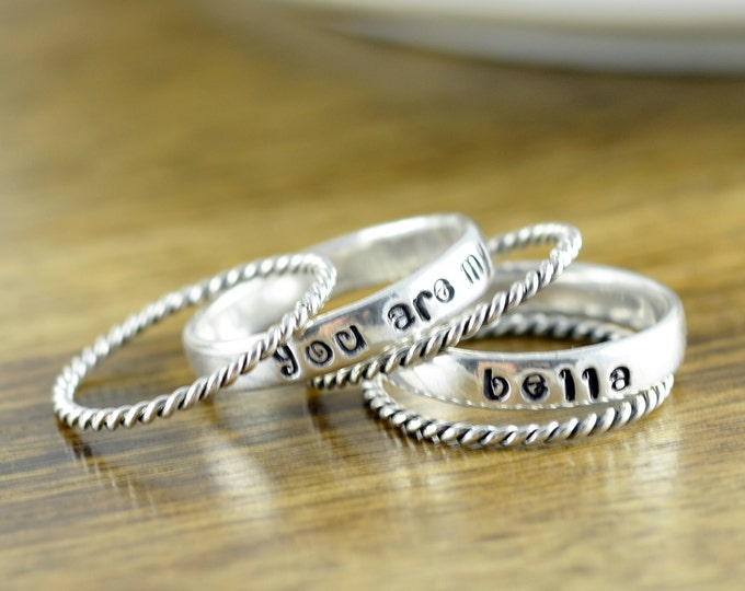 Mothers Ring - Stackable Name Rings - Gift for Mom - Name Rings - You are My Sunshine Jewelry - Personalized Stacking Ring - Mothers Jewelry