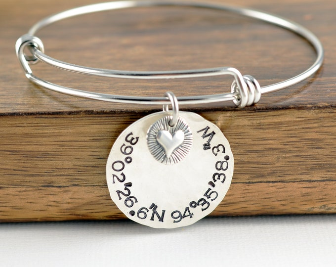 Custom Coordinates Bracelet, Coordinate Jewelry, GPS Gift, Coordinates Gift, Coordinate Bracelet, Valentines Day Gift, Girlfriend Gift