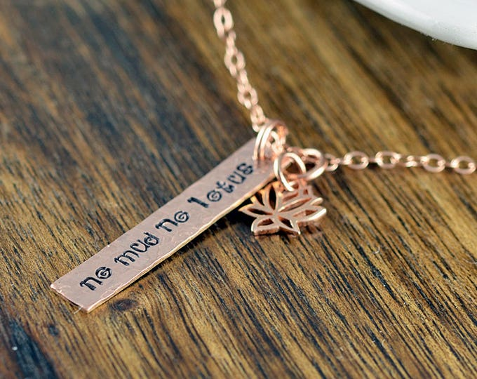 Rose Gold Lotus Necklace - Lotus Flower Necklace - No Mud No lotus - Lotus Charm - Lotus Jewelry - Yoga Bracelet - Yoga Jewelry, Yoga Gift