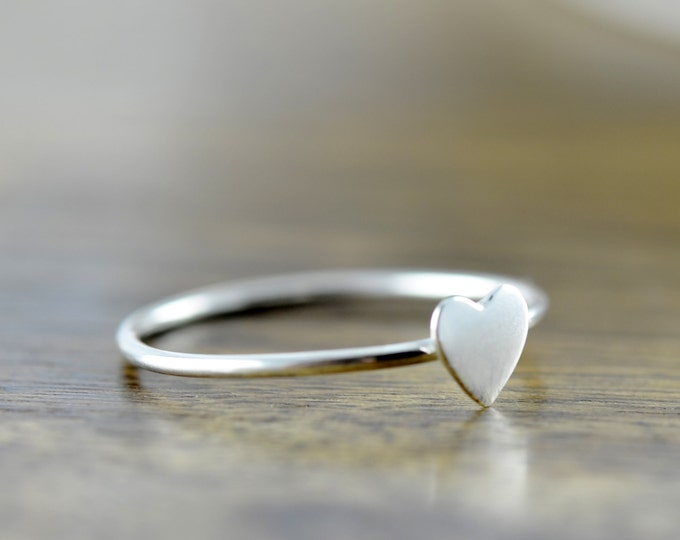 sterling silver heart ring, love ring, silver stacking rings, stacking rings, gift for her, valentines day, romantic jewelry, gift for her