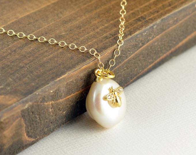 Honey Bee Charm Pendant, Cubic Zirconia, Bee Necklace, Bee Jewelry, Gold Bee Necklace, Bumble Bee Necklace, Honeybee Jewelry
