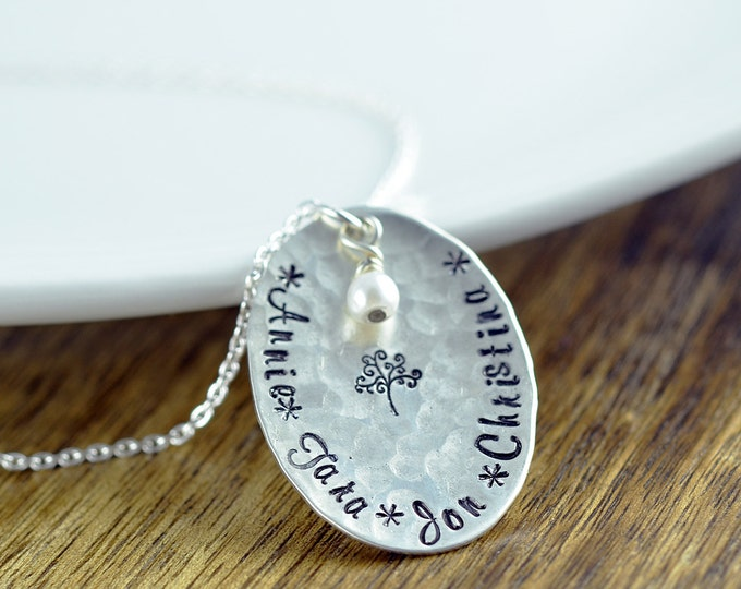 Personalized Family Tree Necklace, Family Tree Necklace For Mom, Grandmothers Necklace, Tree Of Life Necklace, Family Tree Jewelry