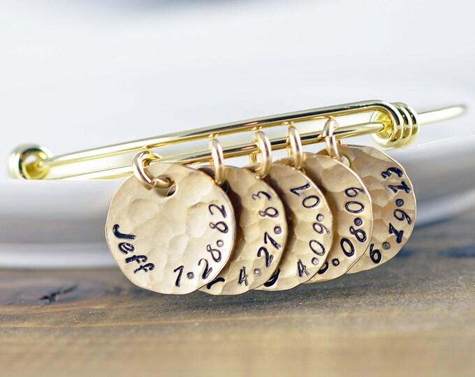 Hand Stamped Bangle Bracelet - Gold Mothers Jewelry - Personalized Bracelet - Gold Bangle Bracelet - Name Bracelet - Mother's Gift