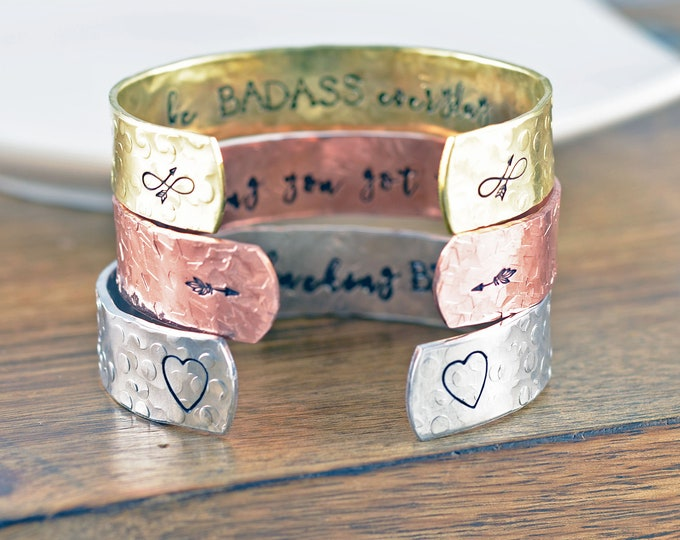 Inspirational Cuff, I am Beautiful Bad ass Bracelet, I am Jewelry, I am Bracelet, Motivational Jewelry, Gift for Her, Secret Message Jewelry