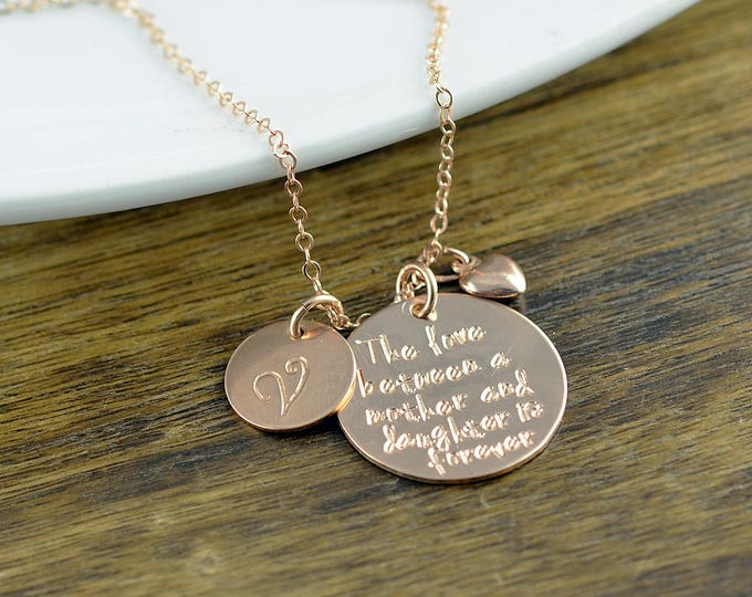 Rose Gold Necklace, The Love Between A Mother And Daughter Is Forever Necklace, Mother Daughter Jewelry, Mothers Day Gift, Mothers Necklace