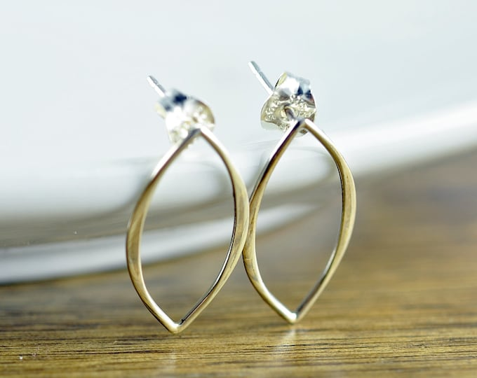 Earrings - Sterling Silver Marquis Earrings - Modern Earrings - Round Link -  Round Connector - Earring Part - Geometric - Infinity Earrings