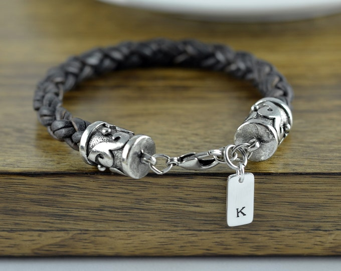 Personalized Mens Leather Bracelet - Custom Initial Bracelet - Custom Leather Bracelet - Mens Bracelet - Mens Leather Bracelet - Mens Gift