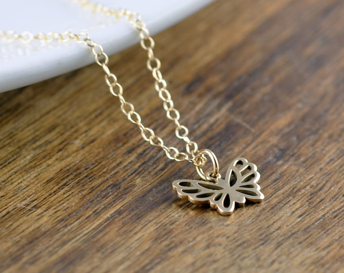 Gold Butterfly Necklace, Butterfly Necklace, Butterfly Charm Necklace, Butterfly Jewelry, Mother, Best Friends Gift, Wife Gift, Sister Gift
