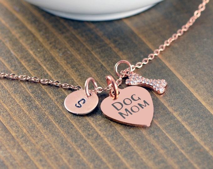 Dog Mom Necklace, Dog Mom Gift, Dog Charm Necklace, Dog Lover Necklace, Dog Lover Gift, Animal Lover Gift, Rose Gold Necklace