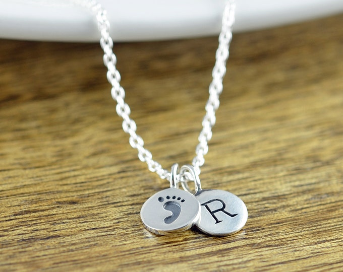 Baby Footprint Necklace - New Mom Gift - Sterling Silver Charm Necklace - Personalized Initial Jewelry - Custom Push Present Necklace