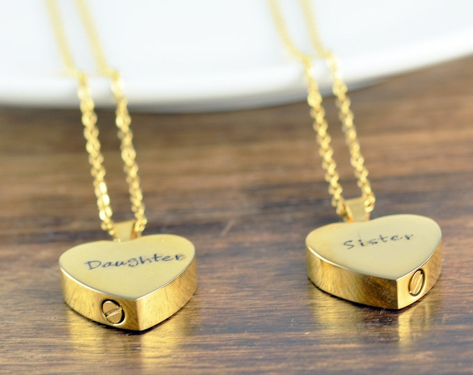 Personalized Cremation Jewelry, Ash Jewelry, Heart Cremation Pendant, Urn Necklace For Ashes, Gold Heart Necklace, Cremation Necklace
