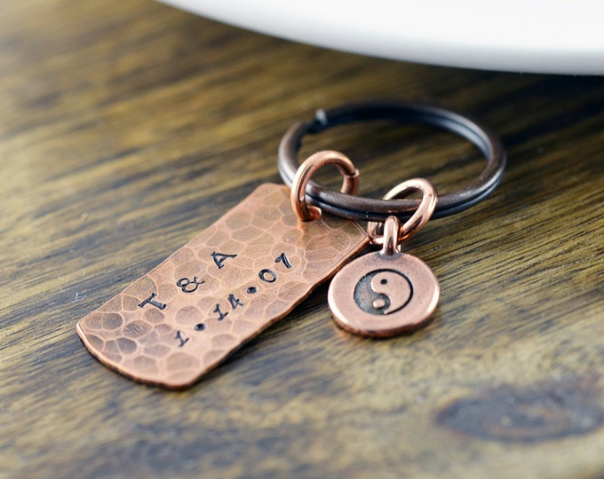 copper keychain - ying yang - personalized keychain - anniversary gifts for men - mens keychain - handstamped keychain - boyfriend gift
