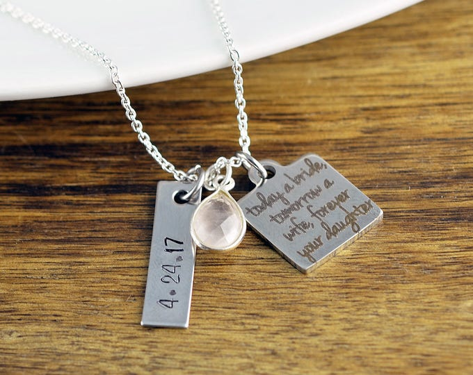 Today a Bride Tomorrow a Wife Forever Your Daughter Necklace, Mother of Bride Necklace, Mom Jewelry, Wedding Gift Jewelry
