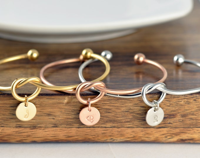 Knot Bracelet Cuff Bracelets Personalized Gift For Mom From Daughter Gift For Mom, Sterling Silver, Gold, Rose Gold, Knot Bracelet Women