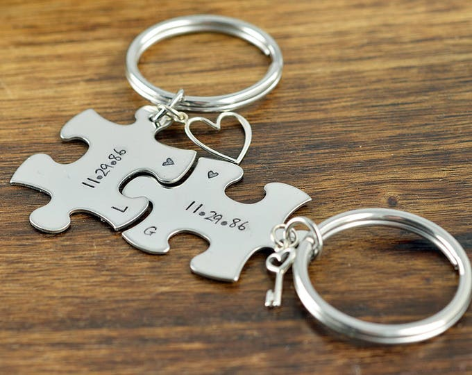 Puzzle Keychain, Puzzle Piece Keychain, GIft for Couples, Couples Gift, His and Hers Key Chains, Couples Anniversary, Valentines for Couples