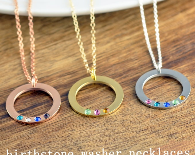 Washer Necklace with Birthstone, Birthstone Necklace for Mom, Grandmother Gift, Birthstone Necklace, Birthstone Jewelry,Grandmother Necklace