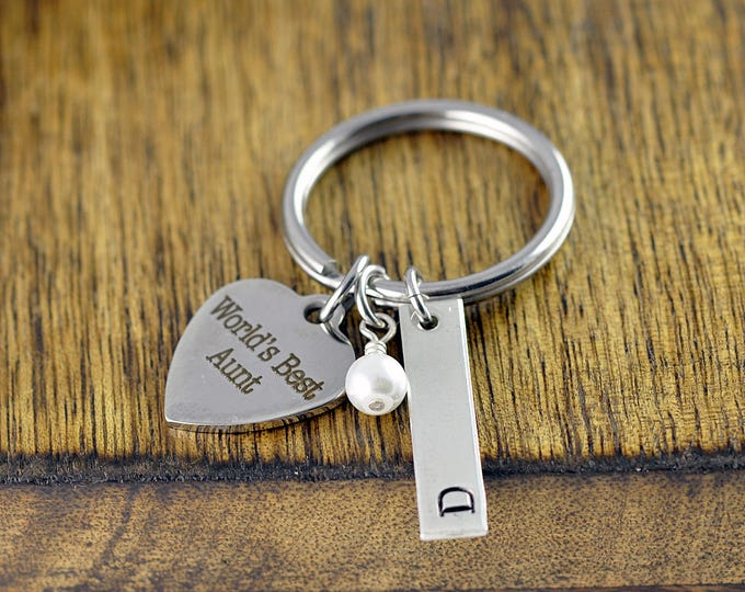 Personalized Keychain for Aunt, Aunt Keychain, Gift for Aunt, New Aunt Gift, Custom Keychain, Initial Keychain, Engraved Gift, Aunt Key Ring