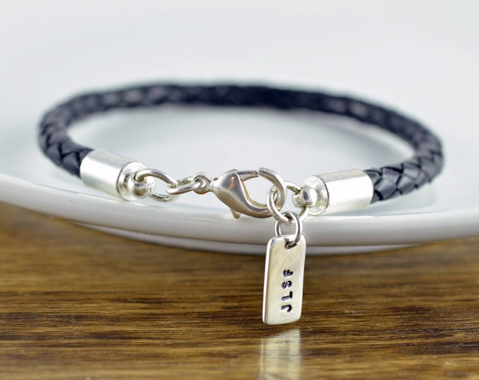 Personalized Mens Leather Bracelet - Custom Initial Bracelet - Custom Leather Bracelet - Mens Bracelet - Mens Leather Bracelet - Mens Gift