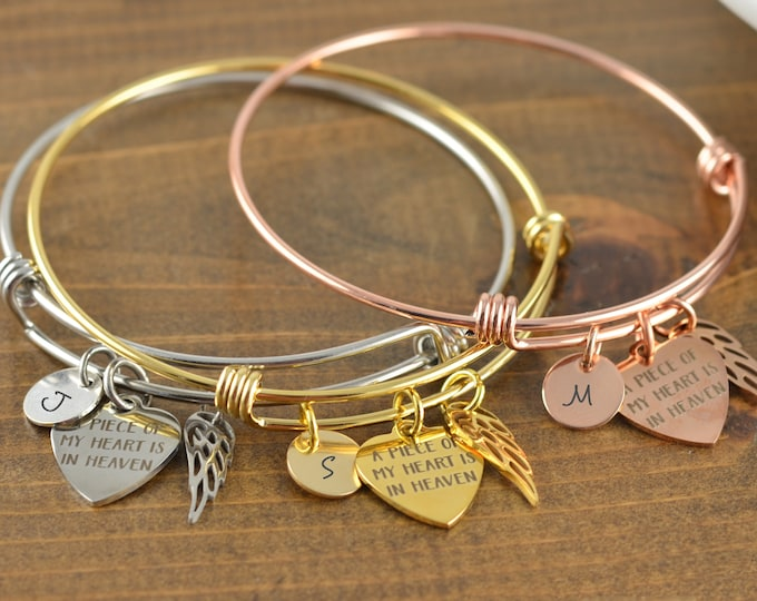 Memorial, Memorial Bracelet - A Piece Of My Heart Is In Heaven - Memorial Jewelry -Loss - Sympathy Gift ,In loving Memory Bereavement Family