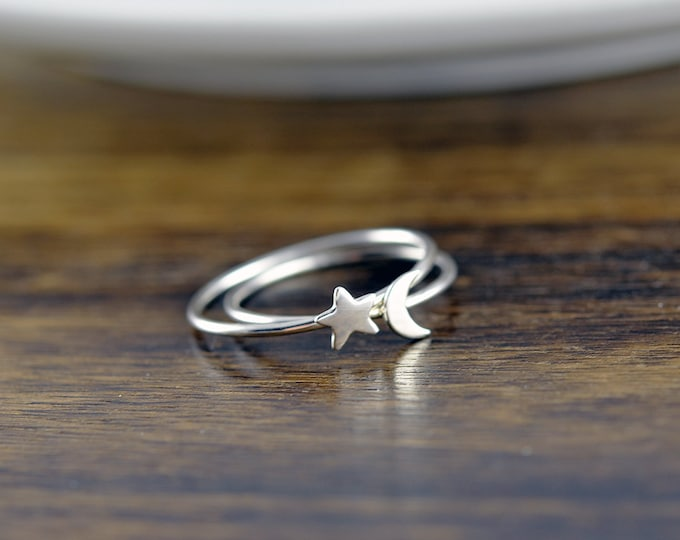 Sterling Silver Moon and Star Ring Set - Crescent Moon Ring, Silver Moon Ring, Silver Star Ring, Stacking Rings, Celestial Jewelry