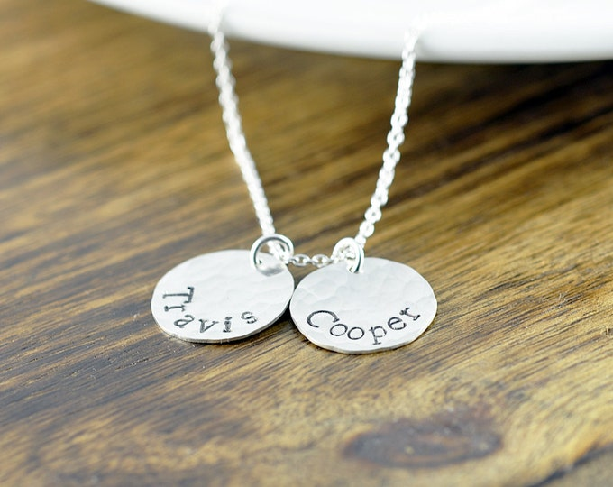 Personalized Silver Necklace, Mother's Necklace, Mom Jewelry, Kids Name Necklace, Custom Stamped Necklace, Gifts for Mom, Personalized Gifts