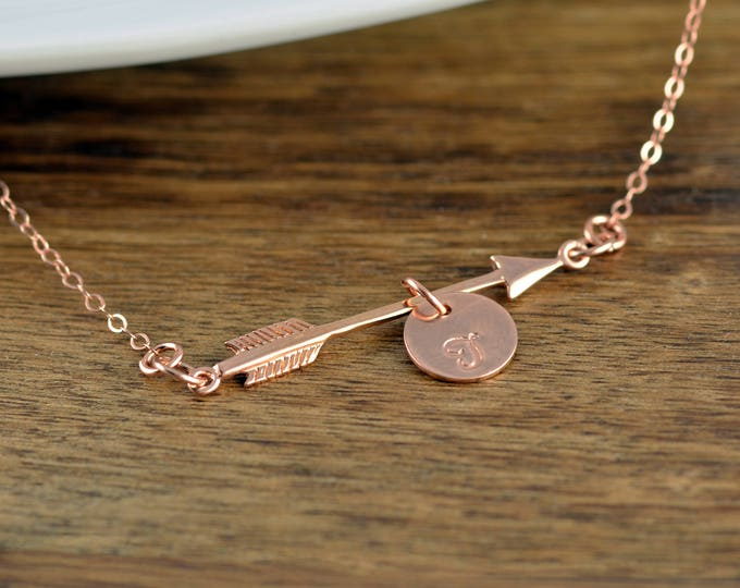 Personalized Arrow Necklace - Rose Gold Initial Necklace - Initial Jewelry - Arrow Necklace - Arrow Jewelry - Rose Gold Arrow Necklace