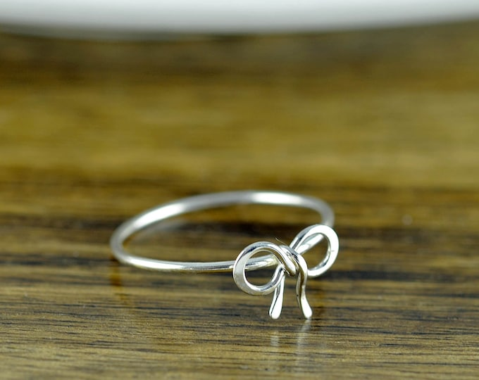 sterling silver tiny bow ring, bow tie ring, tie the knot ring, sterling silver ring, stacking rings, statement rings, gift for her