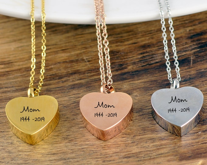 Personalized Cremation Jewelry, Urn Necklace for Human Ashes, Cremation Jewelry Necklace, Ashes Necklace, Ashes Jewelry, Loss of Mother