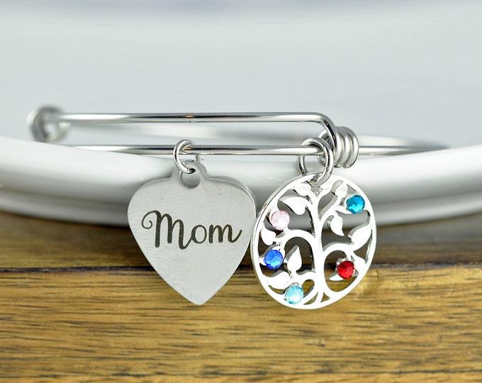 Mothers Birthstone Bracelet, Mom Bracelet, Silver Family Tree Bracelet, Tree of Life Bracelet, Birthstone Charm Bracelet, Mothers Day Gift