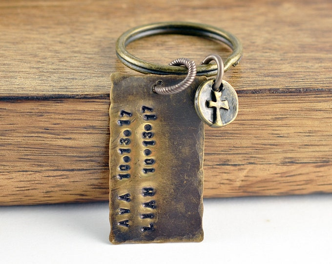 Father's Day Keychain Personalized, Dad Keychain, Dad Gift, Father's Day Gift, Fathers Keyring, Gift For Him, Hand Stamped Accessories