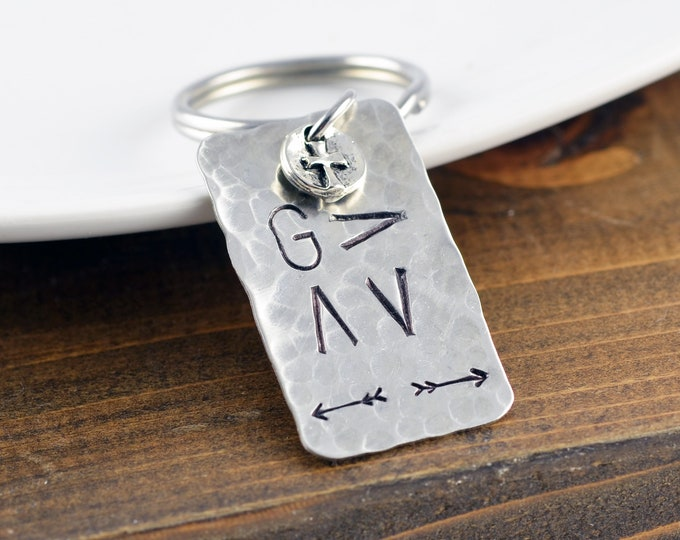 Silver Mens Keychain, Mens Gift, Personalized Keychain, Boyfriend Gift, Gifts for Him, God Is Greater, Religious Gift, Christian Gifts