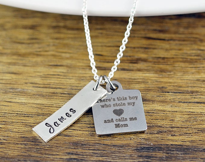 There's this boy who stole my heart he calls me mom necklace / Mother and Son Gift, Mothers Jewelry, Mothers Day Gift, Gifts for Mom