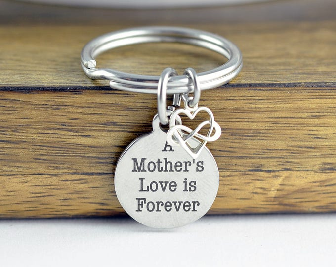 A Mothers Love is Forever Keychain, Personalized Keychain, Engraved Keychain, Mother's Keychain, Gift for Mom, Mothers Day Gift