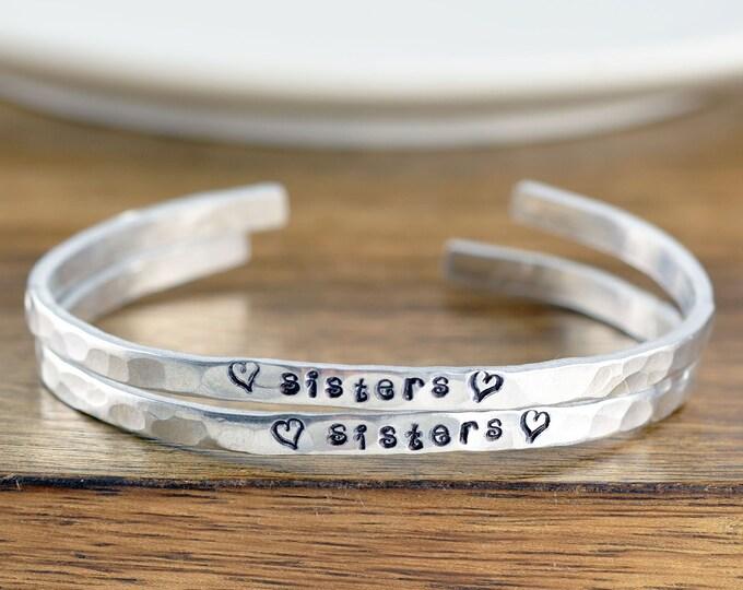 Sister Gift, Sister Bracelet, Best Friend Bracelet, Sisters Bracelets, Sister Jewelry, Sister Birthday Gift, Custom Cuff Bracelet