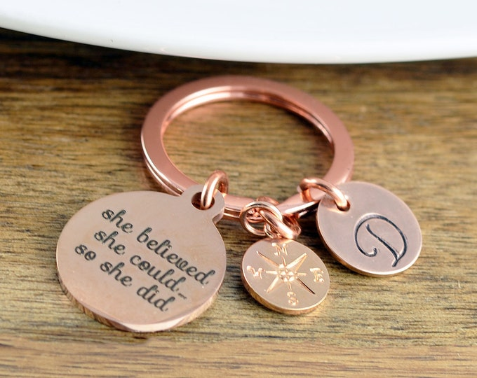 She Believed She Could, Graduation Gift, Personalized Graduation Keychain, Class of 2019, Senior Gift, College Graduation