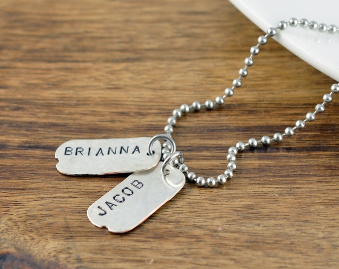 Fathers Day Gift, Mens Dog Tag Necklace, Personalized Mens Necklace, Mens Jewelry, Boyfriend GIft, Dad, GIft, Tag Necklace Personalized