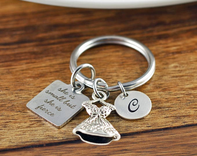 Though She is Small She is Fierce KeyChain,  Shakespeare Quote, Engraved Jewelry,  Niece KeyChain, Teenage Girl Gifts, Initial Keychain